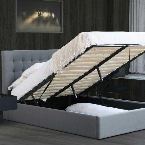 Bett mit Stauraum Lucio 140x200 - grau