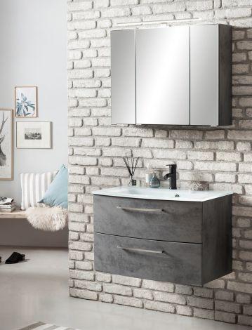 Badkombination Stivan 2-teilig mit weißem Waschbecken - Beton