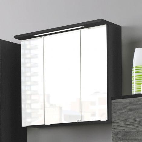 Spiegelschrank Bobbi 60cm Modell 1 3 Türen und LED-Beleuchtung - graphit