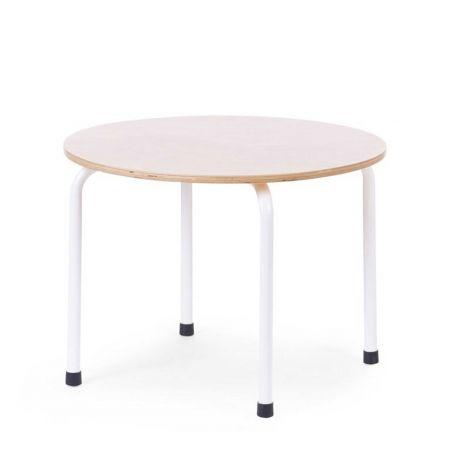 Kleiner Runder Tisch Metall Holz Naturell Weiss