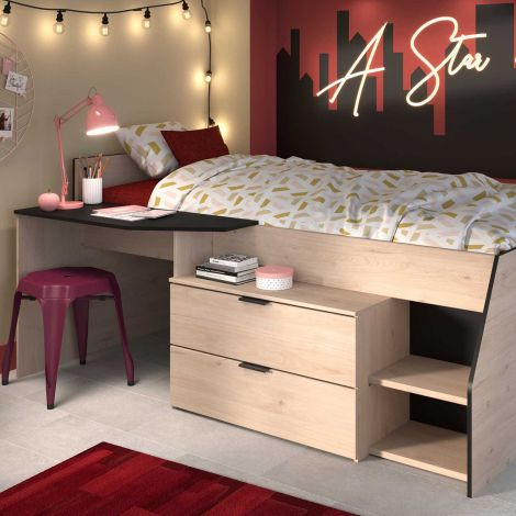 Kabinenbett Milky mit Schreibtisch und Schubladen - schwarz/gelb