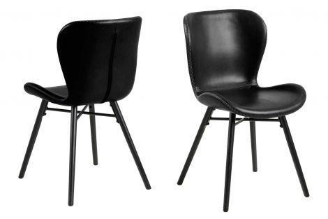 2er Set Kunstlederstühle Tilda mit schrägen Beinen - schwarz