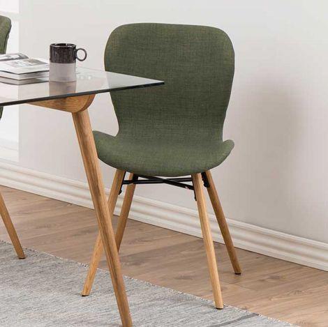 2er Set Stoffstühle Tilda mit schrägen Beinen - grün/eiche