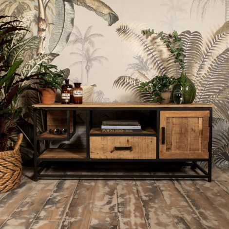 Tv-Möbel Romie 130cm - Mangoholz / Eisen