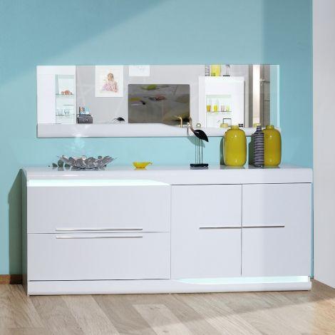 Sideboard Ovar 200cm 2 Türen und 2 Schubladen - Hochglanz weiß