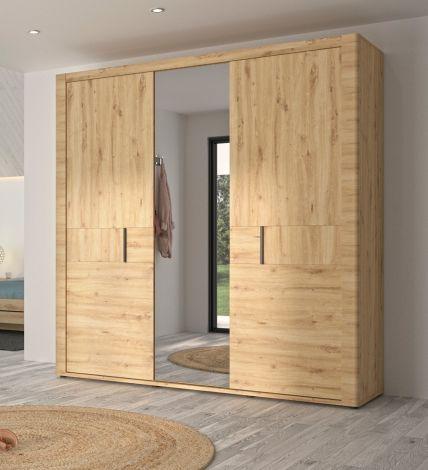 Kleiderschrank Attitude 220cm mit 3 Türen und Spiegel - Eiche