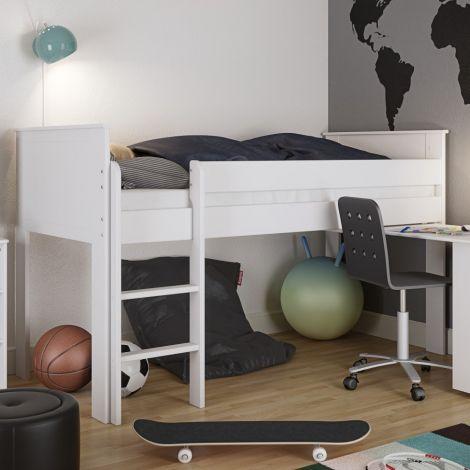 Halbhoher Schlafplatz Alfie 90x200 - weiß