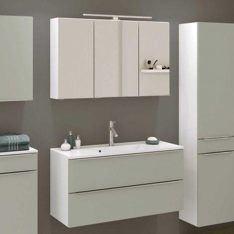 Badkombination Hansen 10 Waschtisch und Spiegelschrank 100cm - grau/weiß