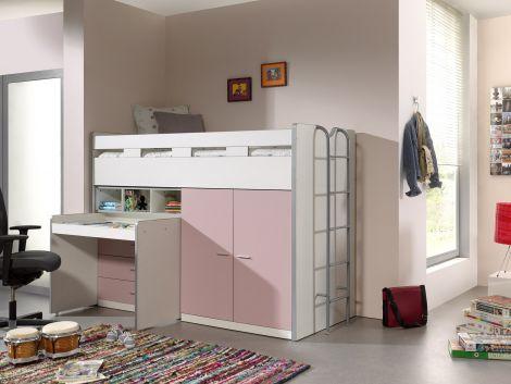 Halbhohes Bett Bonny 70 mit Schreibtisch, Kommode und Schrank - rosa