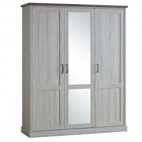 Kleiderschrank Emily 172cm mit 3 Türen und Spiegel - grau