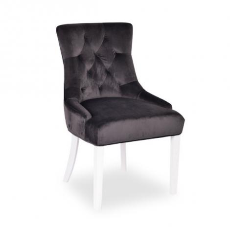 Stuhl Christa - grauer Samt/weiße Beine