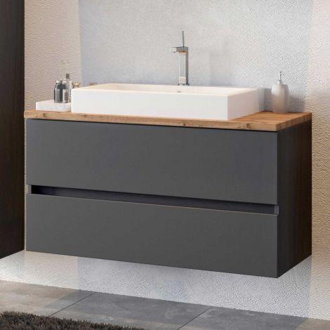 Waschbeckenschrank Pisca 100cm 2 Schubladen - graphit