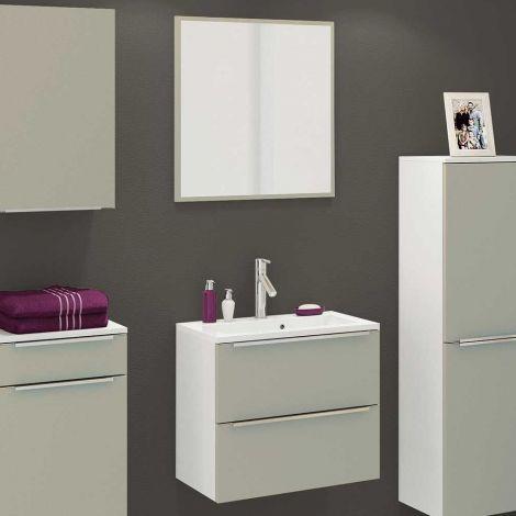 Badezimmerkombination Hansen 12 Waschbecken und Spiegel 60cm - grau/weiß