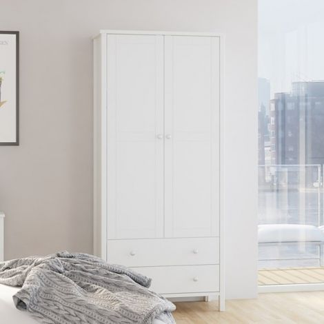 Wardrobe TROMSÖ 116 - Wardrobe with 2 doors and 2 drawers - WHITE