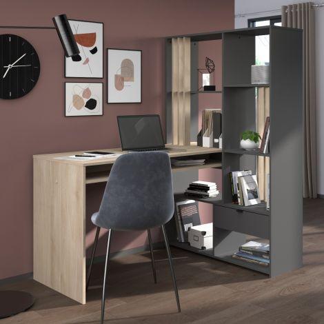 Schreibtisch Santos mit Ablagefläche - Eiche/dunkelgrau
