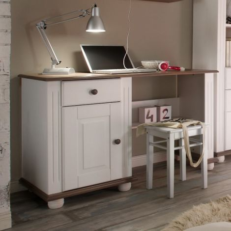 Schreibtisch Laurel 120cm - weiß/braun