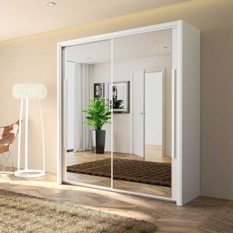 CYRUS - Armoire 2 portes coulissantes 183 Blanc