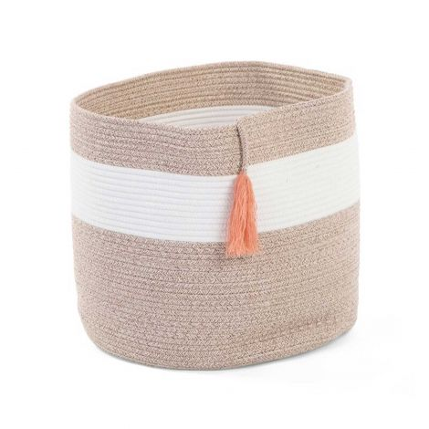 Cotton Rope Basket White Beige + Tassle Nude 38X40