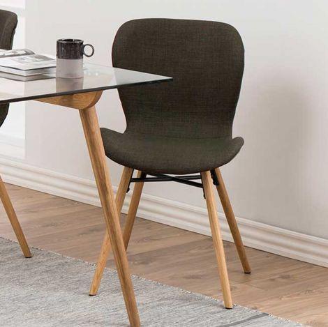2er Set Stoffstühle Tilda mit schrägen Beinen - khaki/eiche