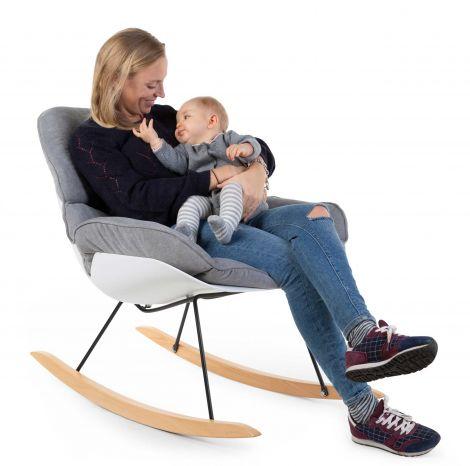 Lounge-Schaukelstuhl - weiß/grau