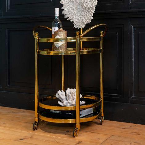 Trolley Hendry rund - gold/glas