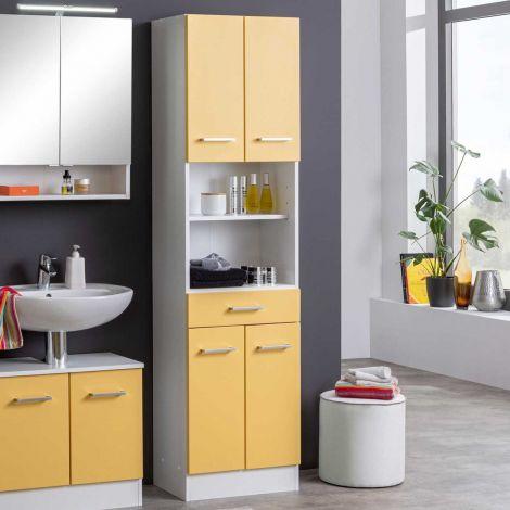 Säulenschrank Ricca 50cm 4 Türen und 1 Schublade - weiß/gelb