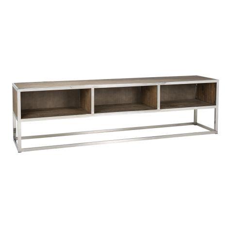 TV-Schrank Redon 180cm mit 3 offenen Fächern - braun/grau