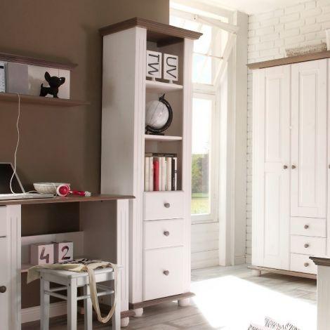 Bücherregal Laurel mit 3 Schubladen - weiß/braun