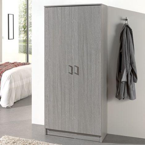 Lagerschrank Ray 80cm mit 2 Türen und 4 Einlegeböden - Eiche grau