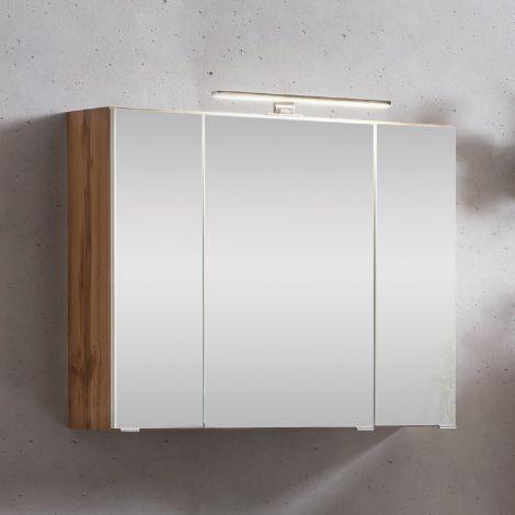 Spiegelschrank Kornel/Luna 80cm 3 Türen und LED-Beleuchtung - Eiche