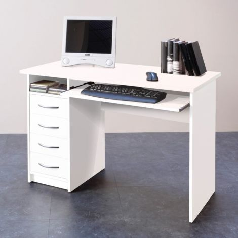 Schreibtisch Jils 110cm mit 4 Schubladen - weiß