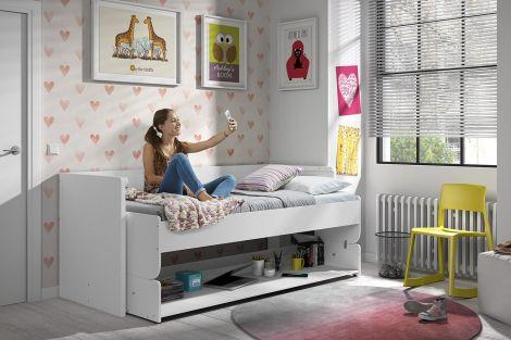 Bett Schreibtisch Kombi Denver - weiß