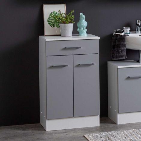 Badezimmerschrank Ricca 50cm 2 Türen und 1 Schublade - weiß/hellgrau