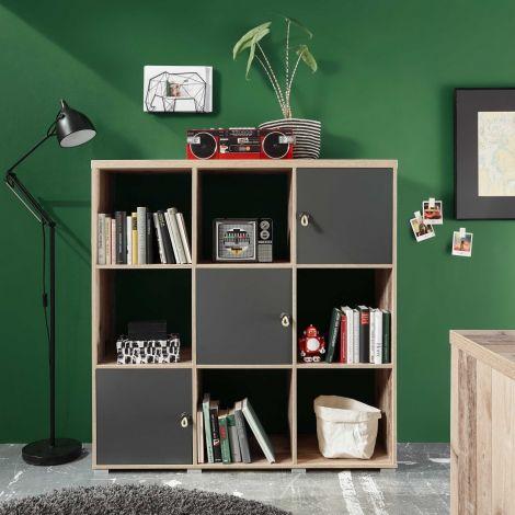 Bücherregal Moleskin mit 3 Türen - anthrazit/alter Stil