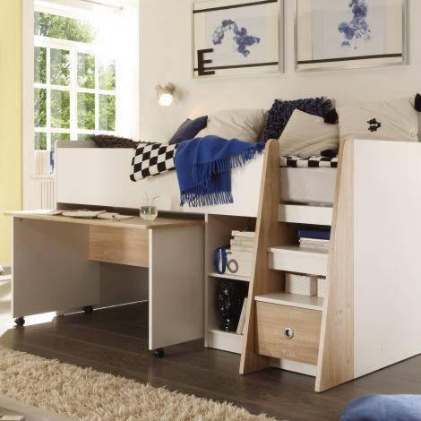 Halbschlafsofa Pierrot 90x200 mit Schreibtisch - weiß/Eiche