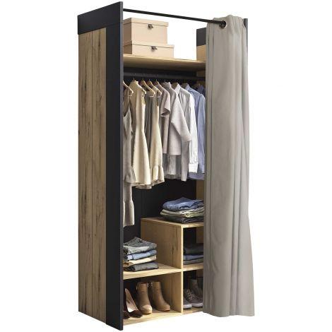 Garderobe Harlem 100cm mit Vorhang - braun/grau