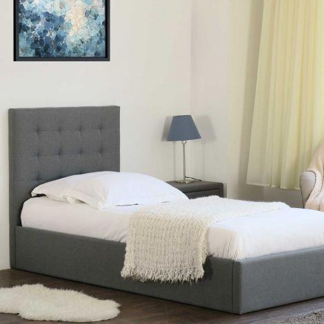 Bett mit Stauraum Lucio 90x200 - grau