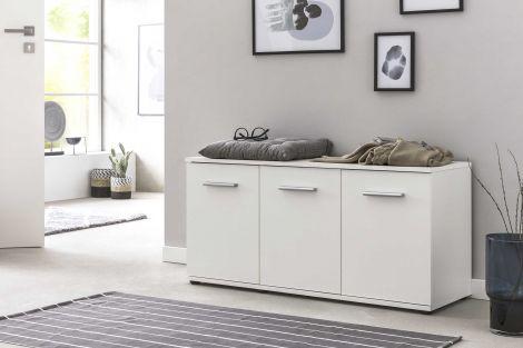 Schuhkommode mit 3 Türen - Weiß Melamin Dekor