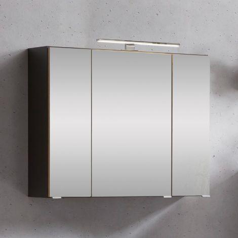 Spiegelschrank Kornel/Luna 80cm 3 Türen und LED-Beleuchtung - graphitgrau