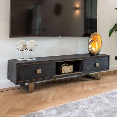 Fernsehschrank Gunther 190cm 2 Schubladen - schwarz/gold