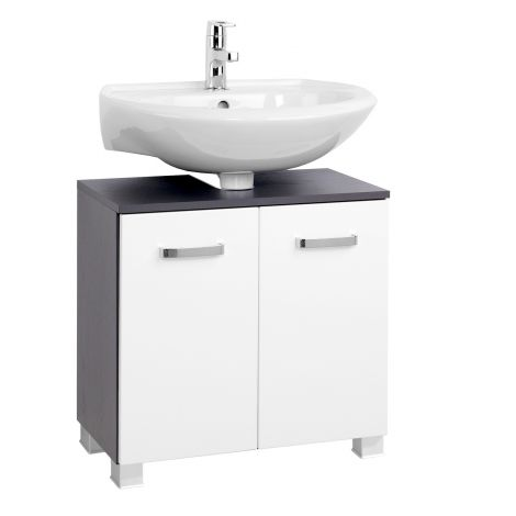 Waschbeckenschrank Bobbi 60cm 2-türig - graphit/hochglanz-weiß