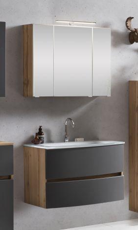 Badkombination Kornel 1 2-teilig mit weißem Waschbecken - Eiche/mattgrau