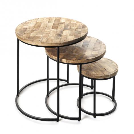 Satz von 3 Beistelltischen Leo - Holz/Metall