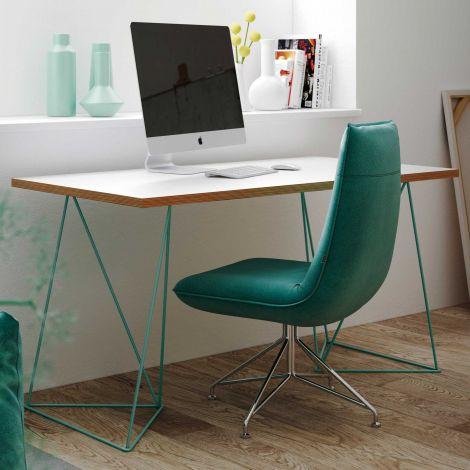 Schreibtisch Flo - weiß/grüne Beine