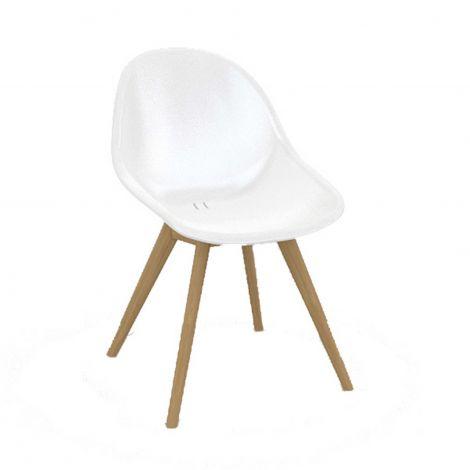 Stockholm design chair synthetic white + teak legs