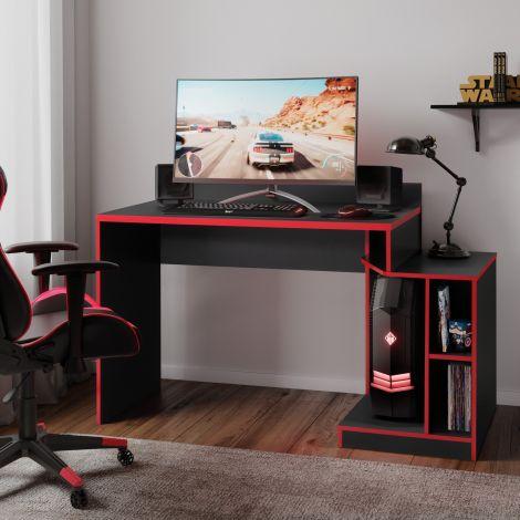 Gaming-Schreibtisch Joseph 136cm schwarz/rot