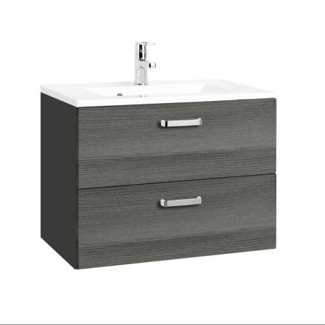 Waschtischunterschrank Bobbi 70cm 2 Schubladen - graphit/quecksilber
