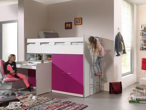 Bonny 70er Halbschwelle mit Schreibtisch, Kommode und Kleiderschrank - fuchsia