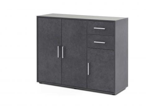 Maxi-Büroschrank 3 Türen und 2 Schubladen - graphit