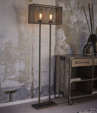 Stehlampe Rechteck Raster mit 2 Lampe - Alt Silber Finish